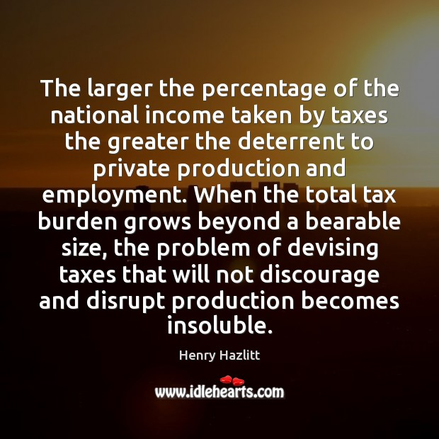 The larger the percentage of the national income taken by taxes the Image