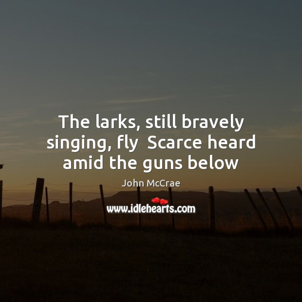 The larks, still bravely singing, fly  Scarce heard amid the guns below Image