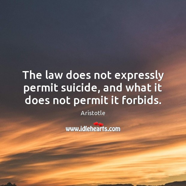 Image, The law does not expressly permit suicide, and what it does not permit it forbids.
