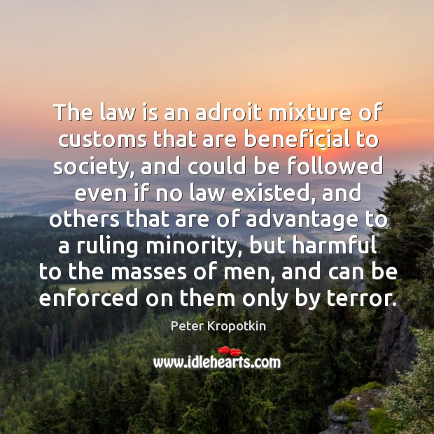 The law is an adroit mixture of customs that are beneficial to society, and could be Image