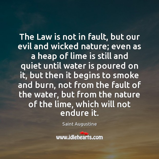The Law is not in fault, but our evil and wicked nature; Image
