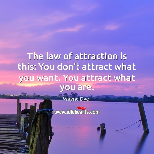 Image, The law of attraction is this: You don't attract what you want. You attract what you are.