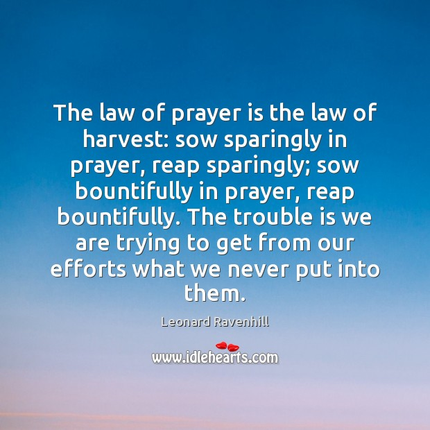 The law of prayer is the law of harvest: sow sparingly in Leonard Ravenhill Picture Quote