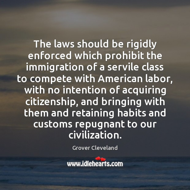 The laws should be rigidly enforced which prohibit the immigration of a Image