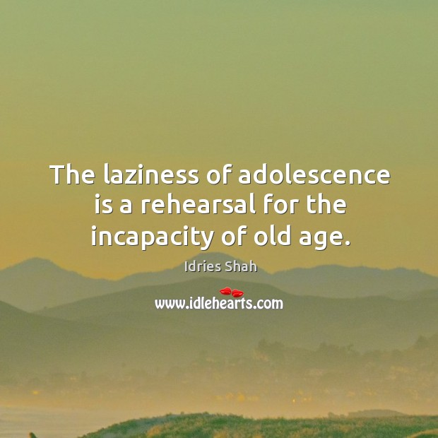 The laziness of adolescence is a rehearsal for the incapacity of old age. Image