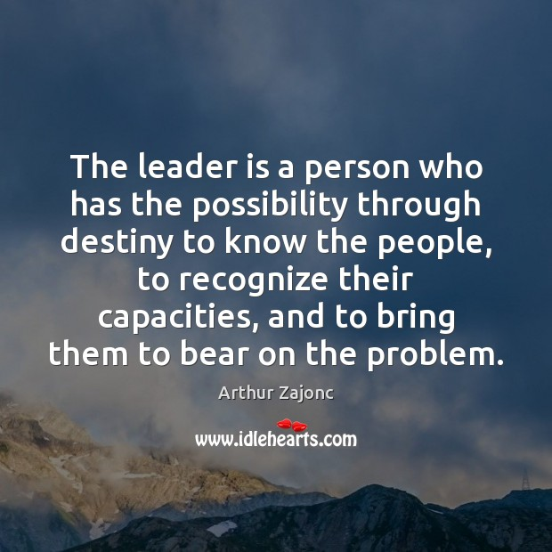 Image, The leader is a person who has the possibility through destiny to