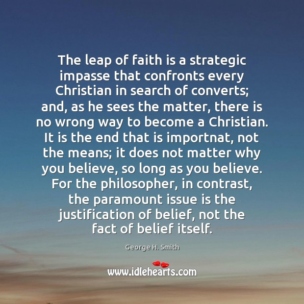 The leap of faith is a strategic impasse that confronts every Christian Image
