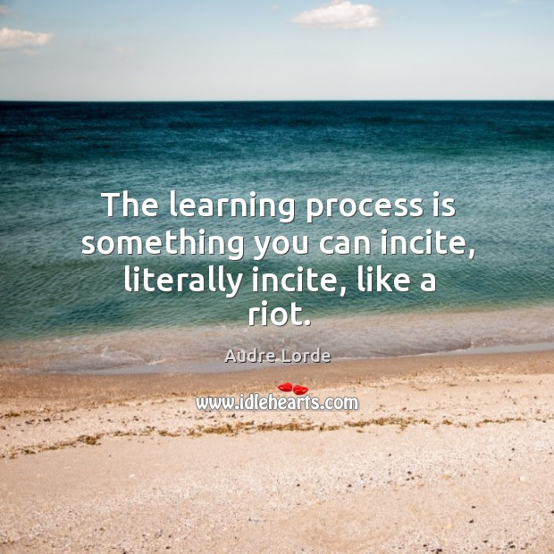 The learning process is something you can incite, literally incite, like a riot. Audre Lorde Picture Quote