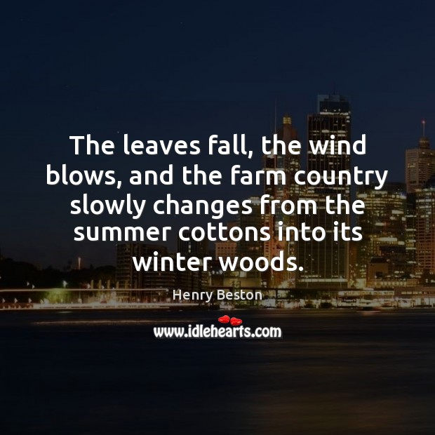 The leaves fall, the wind blows, and the farm country slowly changes Henry Beston Picture Quote