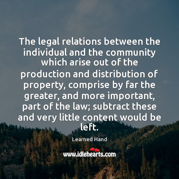 The legal relations between the individual and the community which arise out Image