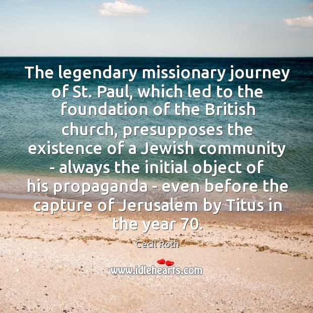 The legendary missionary journey of St. Paul, which led to the foundation Image