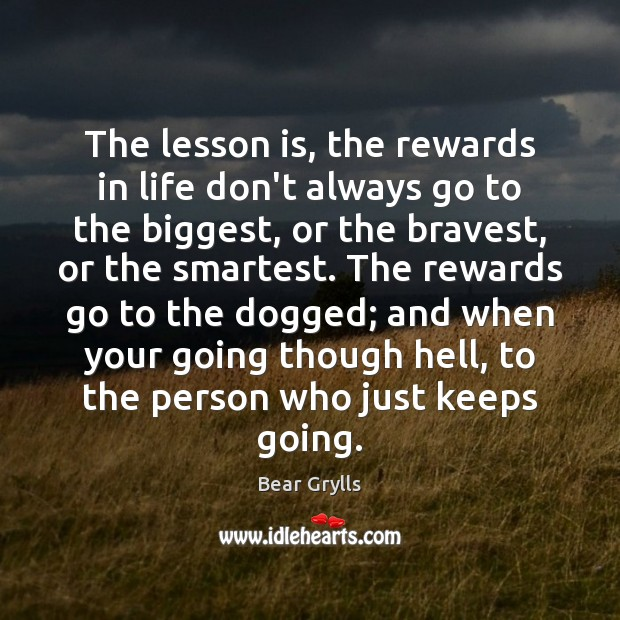 The lesson is, the rewards in life don't always go to the Bear Grylls Picture Quote