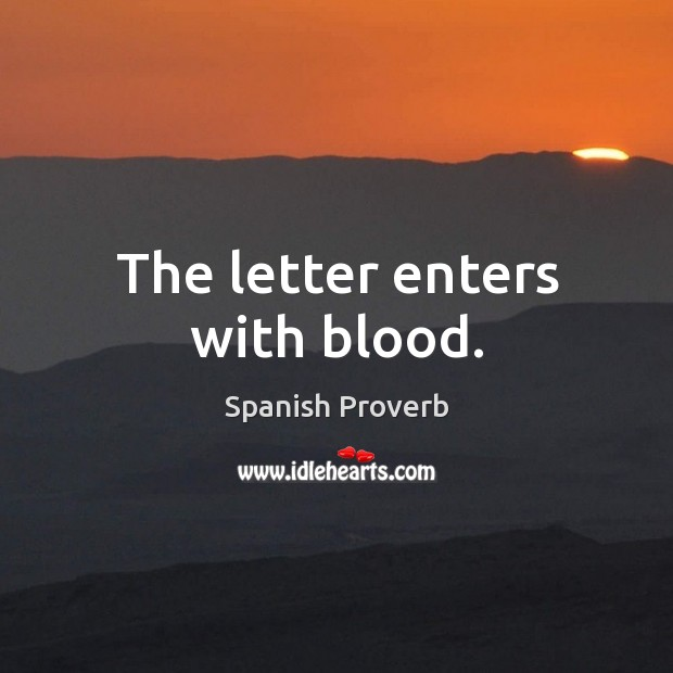 Image, The letter enters with blood.