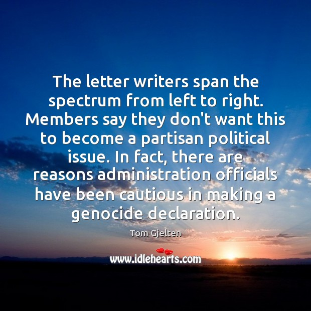The letter writers span the spectrum from left to right. Members say Image