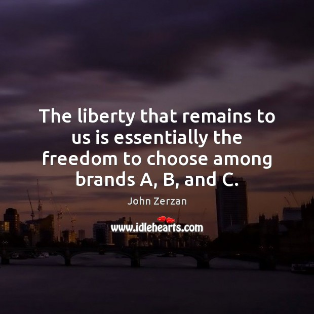 The liberty that remains to us is essentially the freedom to choose Image