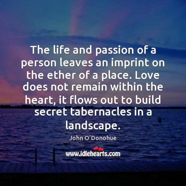The life and passion of a person leaves an imprint on the John O'Donohue Picture Quote