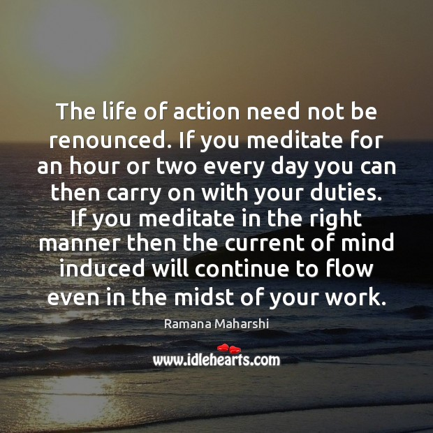 Image, The life of action need not be renounced. If you meditate for