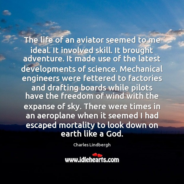 The life of an aviator seemed to me ideal. It involved skill. Skill Development Quotes Image