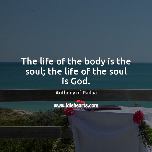 Image, The life of the body is the soul; the life of the soul is God.