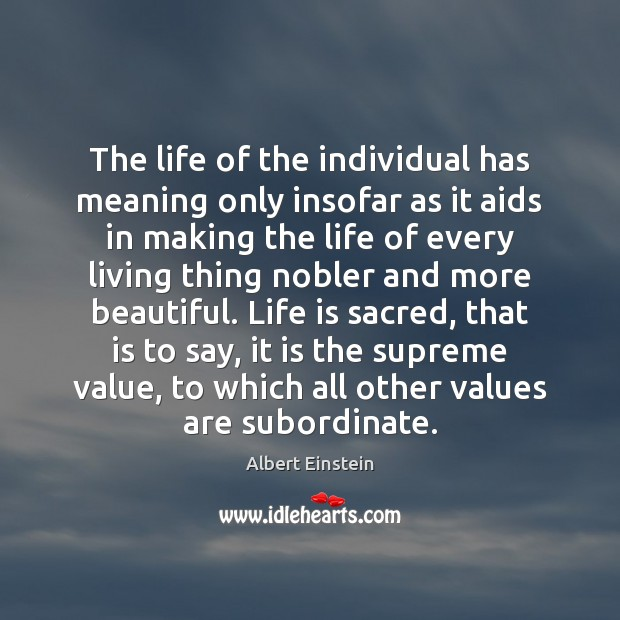 The life of the individual has meaning only insofar as it aids Image