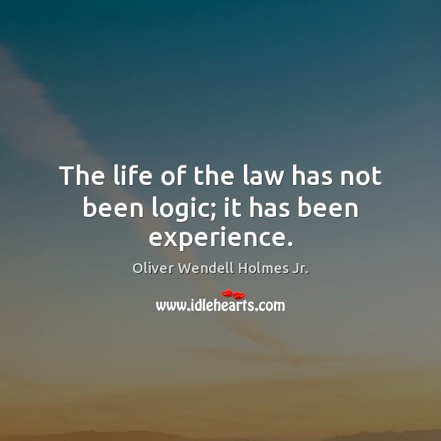 The life of the law has not been logic; it has been experience. Oliver Wendell Holmes Jr. Picture Quote