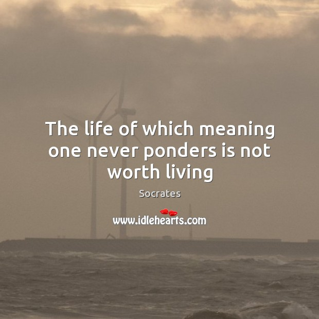 Image, The life of which meaning one never ponders is not worth living