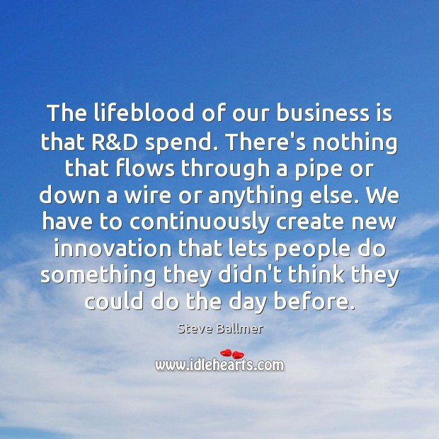 The lifeblood of our business is that R&D spend. There's nothing Image