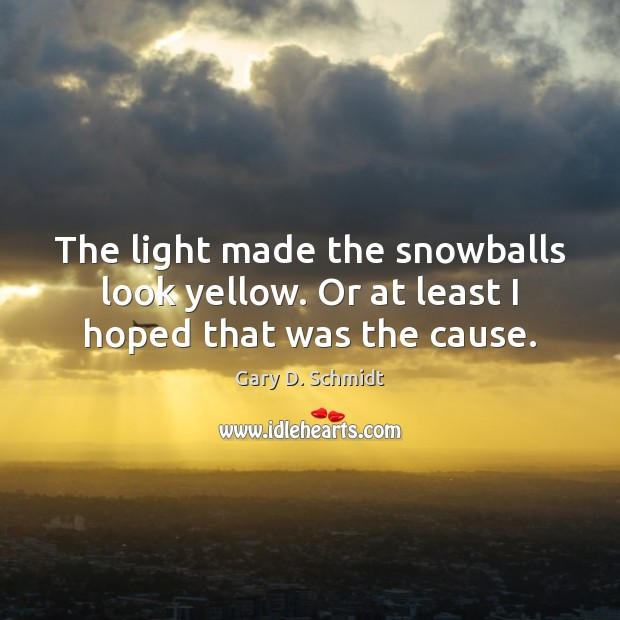 The light made the snowballs look yellow. Or at least I hoped that was the cause. Image