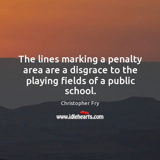 The lines marking a penalty area are a disgrace to the playing fields of a public school. Image
