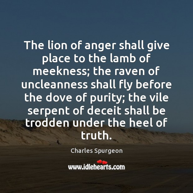 The lion of anger shall give place to the lamb of meekness; Image