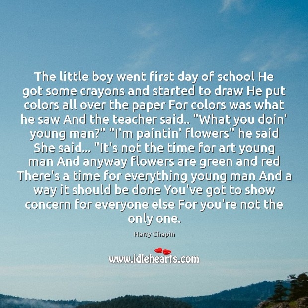 The little boy went first day of school He got some crayons Image