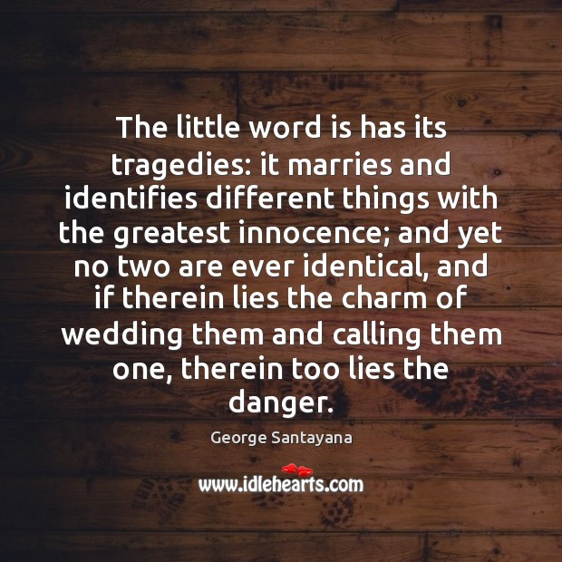 The little word is has its tragedies: it marries and identifies different Image