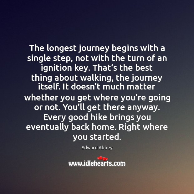 The longest journey begins with a single step, not with the turn Edward Abbey Picture Quote