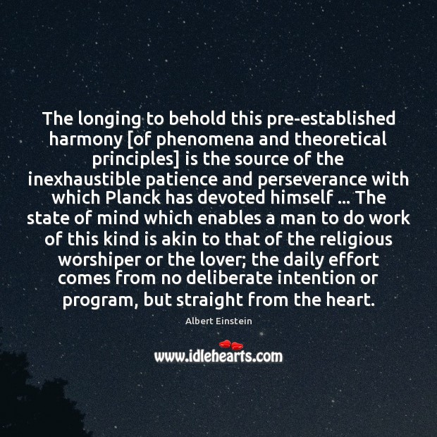 Image, The longing to behold this pre-established harmony [of phenomena and theoretical principles]