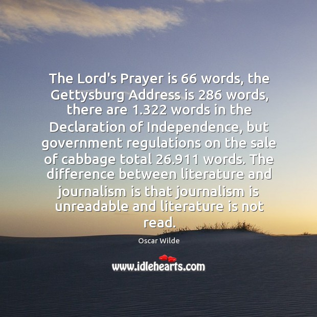 Image, The Lord's Prayer is 66 words, the Gettysburg Address is 286 words, there are 1.322