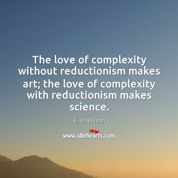 Image, The love of complexity without reductionism makes art; the love of complexity
