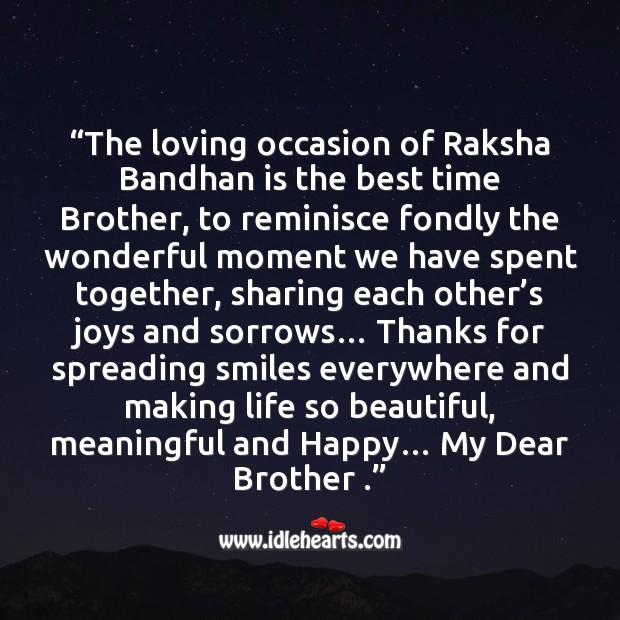 The loving occasion of raksha bandhan is the best time brother Raksha Bandhan Quotes Image