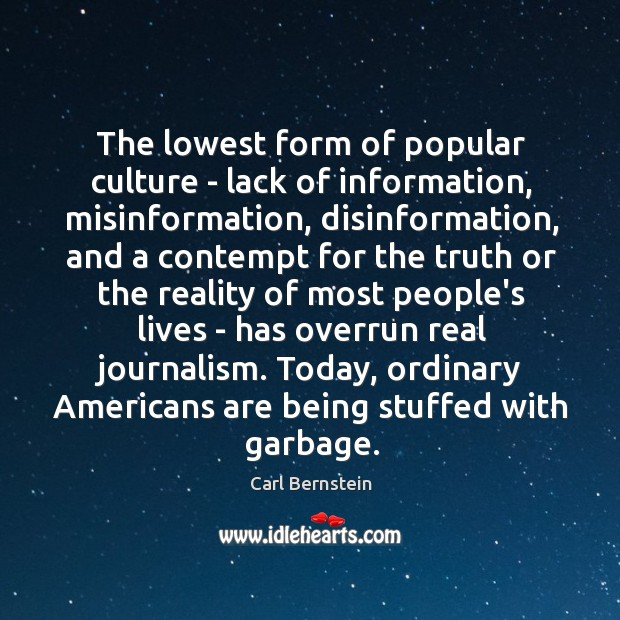 Image, The lowest form of popular culture – lack of information, misinformation, disinformation,