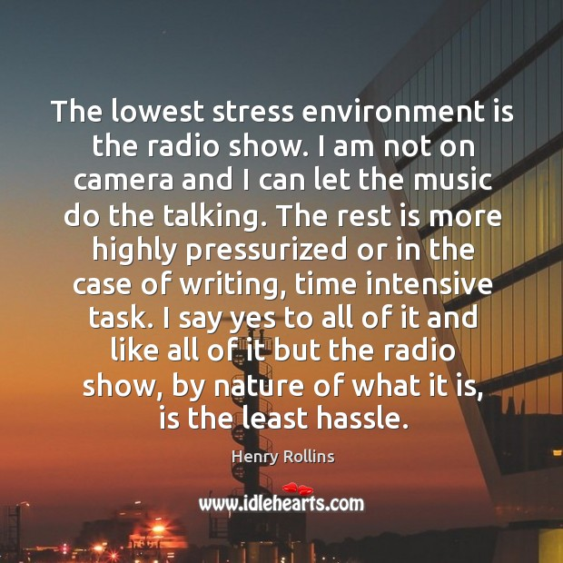 The lowest stress environment is the radio show. I am not on Image