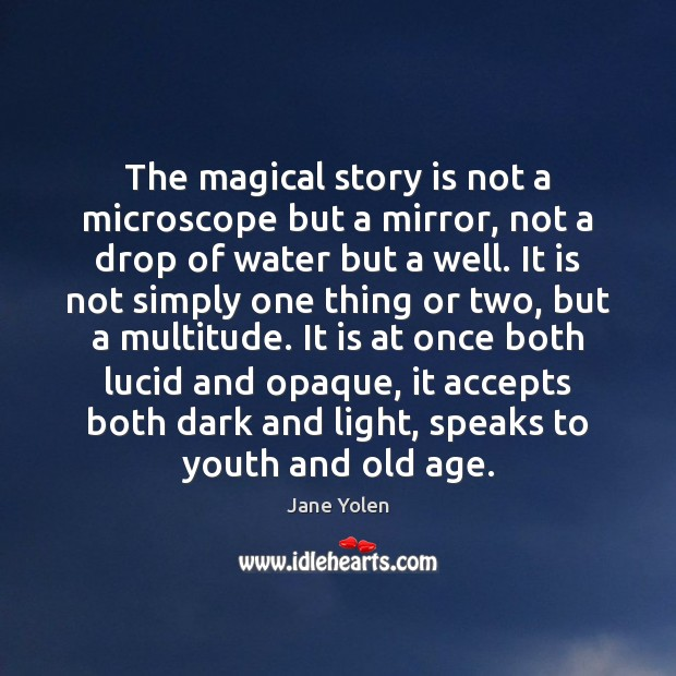 The magical story is not a microscope but a mirror, not a Image