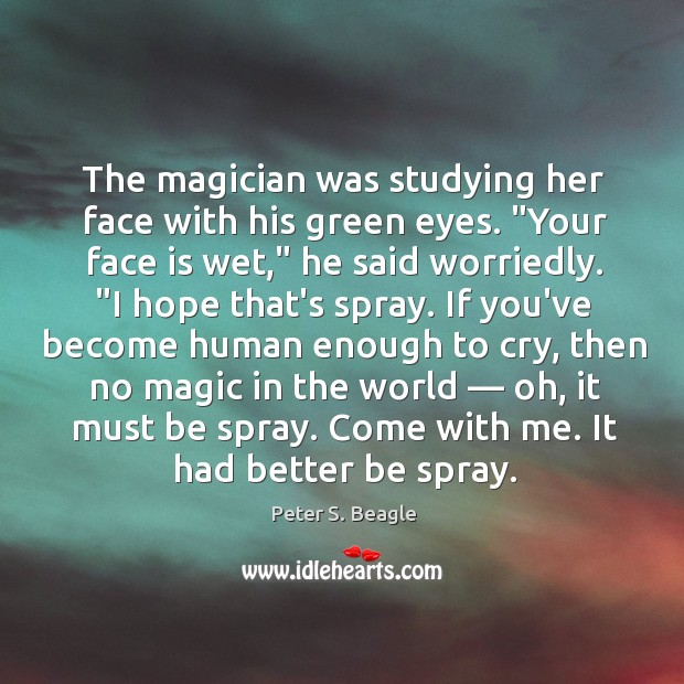 The magician was studying her face with his green eyes ...