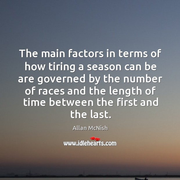 The main factors in terms of how tiring a season can be Image