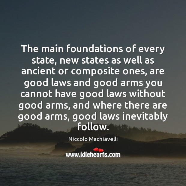 The main foundations of every state, new states as well as ancient Niccolo Machiavelli Picture Quote