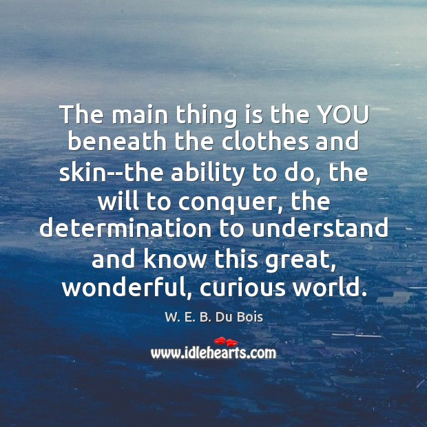 The main thing is the YOU beneath the clothes and skin–the ability W. E. B. Du Bois Picture Quote