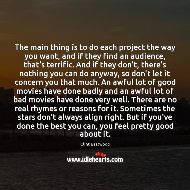 The main thing is to do each project the way you want, Image