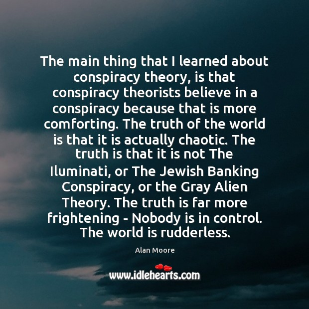 The main thing that I learned about conspiracy theory, is that conspiracy Image