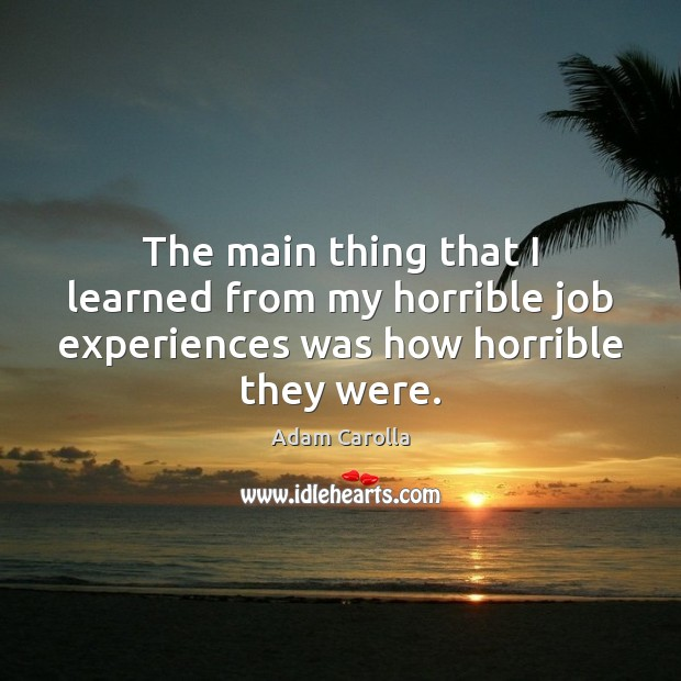 The main thing that I learned from my horrible job experiences was how horrible they were. Image