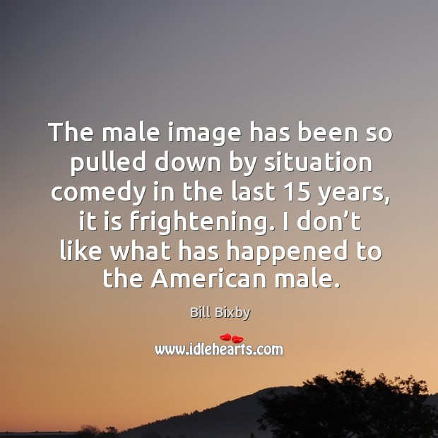 Image, The male image has been so pulled down by situation comedy in the last 15 years, it is frightening.