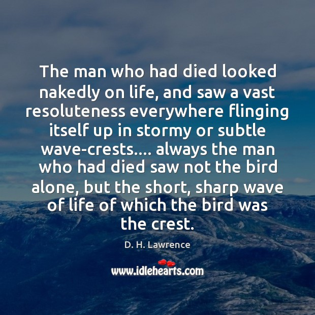 The man who had died looked nakedly on life, and saw a D. H. Lawrence Picture Quote
