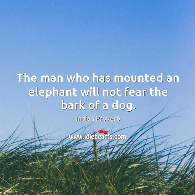 The man who has mounted an elephant will not fear the bark of a dog. Image